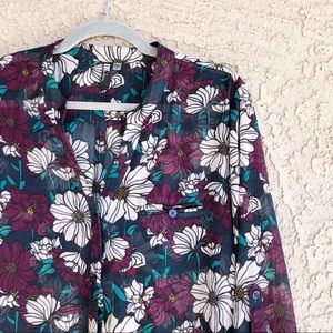 KUT FROM THE KLOTH Sheer Floral Printed Blouse